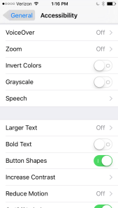 Screen shot of iOS with Button Shapes enabled