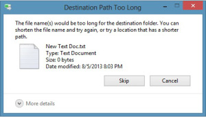 Screen shot of Destination Path Windows Error