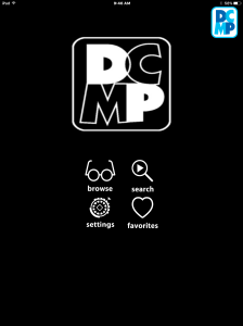 Screen shot of DCMP app home page in high contrast theme