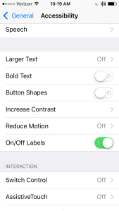 Screen Shot of iPhone with On/Off Labels Enabled