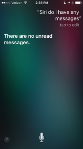 Screen shot of iPhone showing Siri finding no new messages
