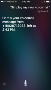 Screen shot of locked iPhone showing Siri reporting only on most recent new voicemail message