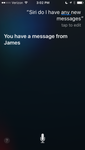 Screen shot of iPhone showing Siri checking on new messages