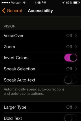 Screen shot of iPhone with Invert Colors enabled