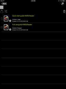 Screen shot of knfbReade file explorer in edit mode