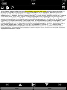 Screen shot of knfbReader document reader