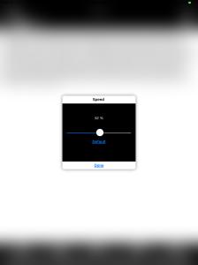 Screen shot of knfbReader reader speed change interface