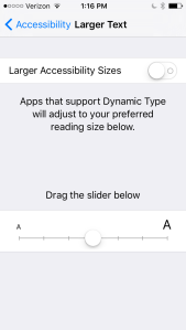 Screen shot of Larger Text menu in iOS