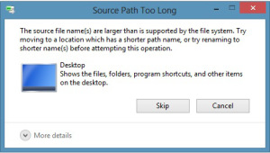 Screen shot of source path Windows error