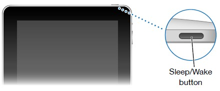 Image showing the Sleep and Wake Button on the iPad