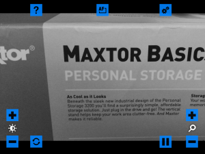 Screen shot of VisionAssist app in Black and White Video mode