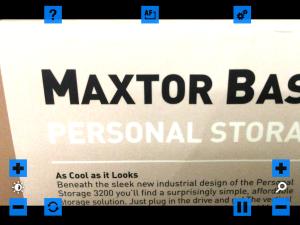 Screen shot of VisionAssist app in Color Video mode