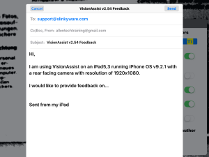 Screen shot of VisionAssist app generated email