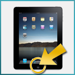 Image showing iPad with an arrow pointing to the home button