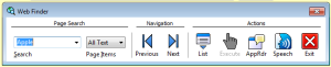 Image of the ZoomText Web Finder Menu