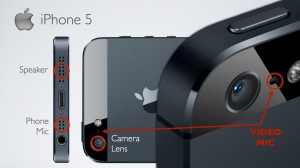 Image showing the locations of the three mics on the iPhone 5