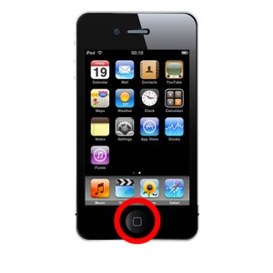 Image showing the location of the home button on the iPhone