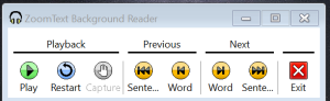 Screen shot of the ZoomText Background Reader Tool Bar