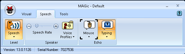 Screen shot of the MAGic User Interface with the Speech tab selected