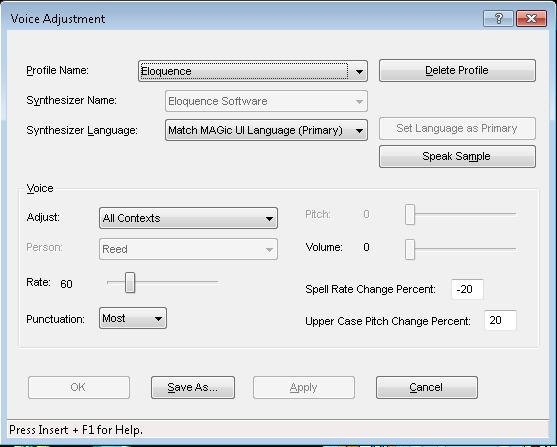 Screen shot of Voice Adjustment Menu in MAGic