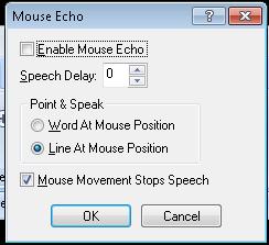 Screen shot of the Mouse Echo Menu in MAGic