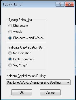 Screen shot of Typing Echo Menu in MAGic