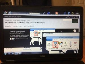 Image of laptop running Zoomtext 11 in overlay window mode