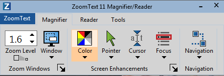 Screenshot of the ZoomText 11 user interface showing the Magnifier Tab